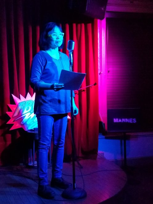 Annie Bien 3/1/2019 FBomb NYC Flash Fiction Reading Series. Photo Credit: A.E. Weisgerber.