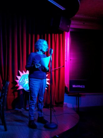 Susan Weiman 3/1/2019 FBomb NYC Flash Fiction Reading Series. Photo Credit: A.E. Weisgerber.
