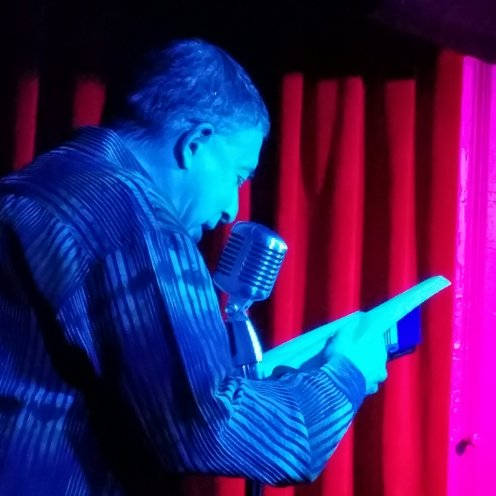 David Huberman 3/1/2019 FBomb NYC Flash Fiction Reading Series. Photo Credit: A.E. Weisgerber.