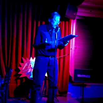 Ron Kolm 3/1/2019 FBomb NYC Flash Fiction Reading Series. Photo Credit: A.E. Weisgerber.
