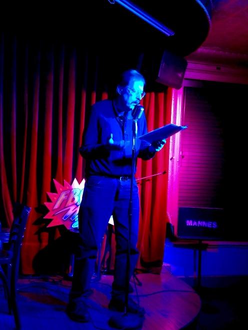 Ron Kolm 3/1/2019 FBomb NYC Flash Fiction Reading Series. Photo Credit: A.E. Weisgerber.