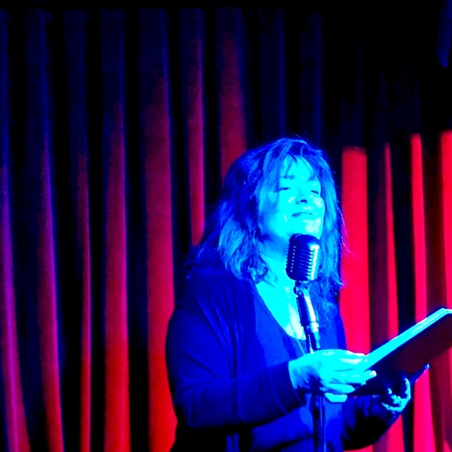 A. E. Weisgerber 3/1/2019 FBomb NYC Flash Fiction Reading Series. Photo Credit: Paul Weisgerber.