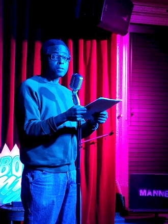 Austin Alexis 3/1/2019 FBomb NYC Flash Fiction Reading Series. Photo Credit: A.E. Weisgerber.